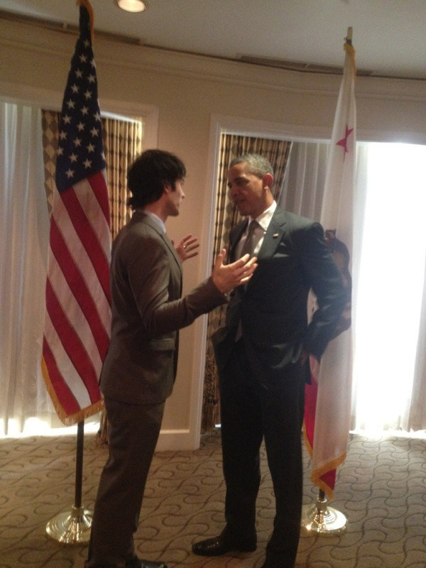 Ian Somerhalder talked politics with President Obama. Source: Twitter user iansomerhalder