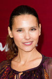 Virginie Ledoyen gave a smile at the Salvatore Ferragamo Resort collection show in Paris.
