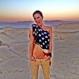 Bar Refaeli sported an American-flag-print top in the desert. Source: Instagram user iambarrefaeli
