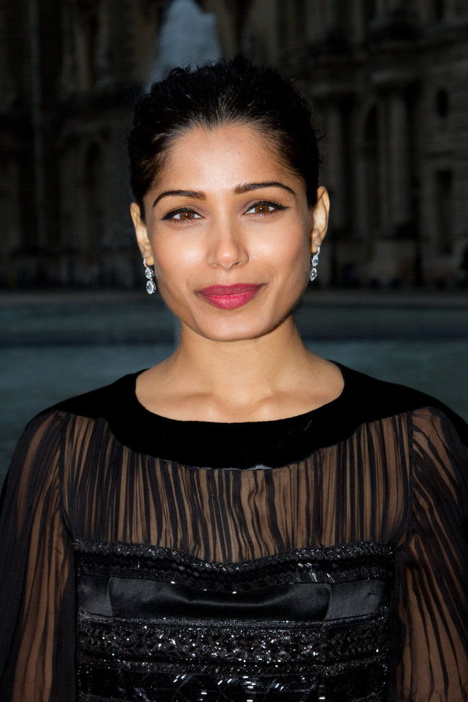 Freida Pinto looked glamorous at the Salvatore Ferragamo Resort collection show in Paris.