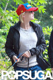 Anna Faris manned the leash as she and Chris Pratt took their dogs for a walk.