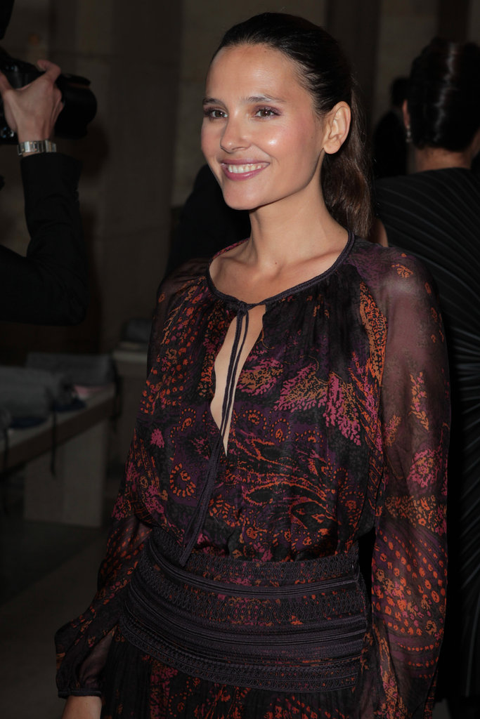 Virginie Ledoyen smiled at the Salvatore Ferragamo Resort collection show in Paris.