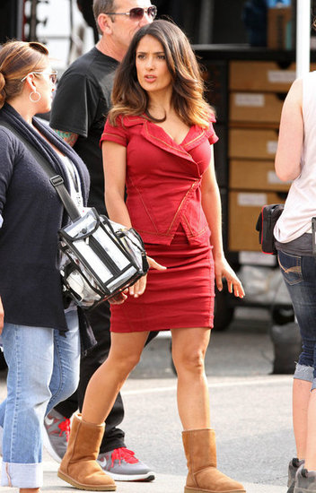 Salma Hayek swapped heels for Uggs.