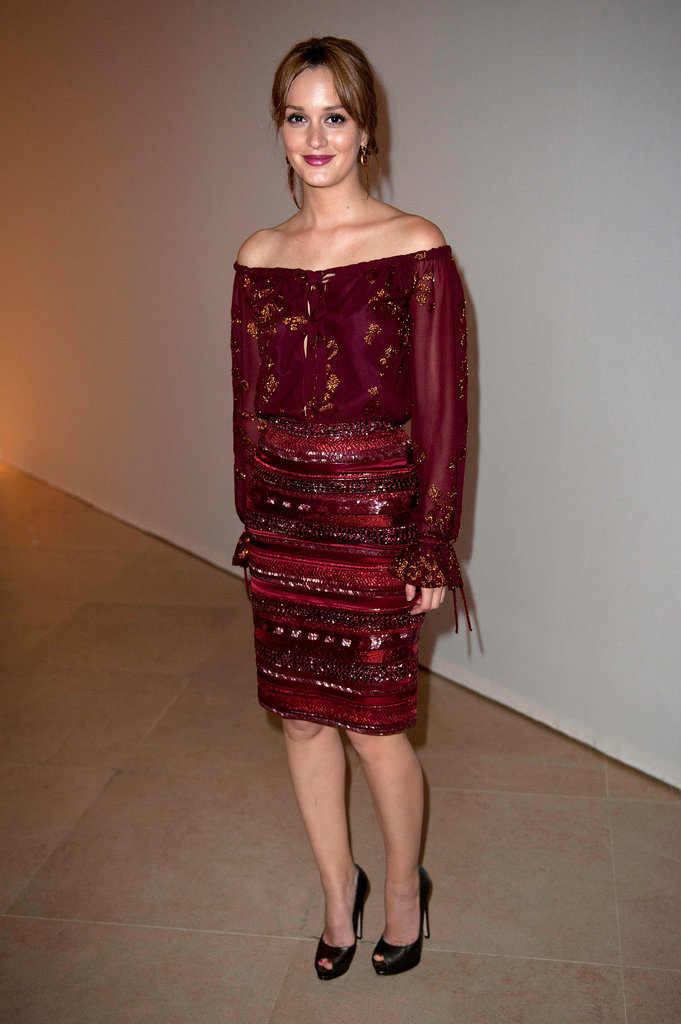 Leighton Meester smiled at the Salvatore Ferragamo Resort collection show in Paris.