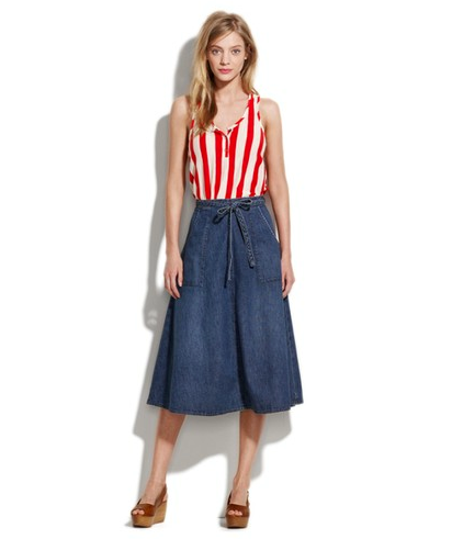 We love the update on relaxed '70s cool with this midi skirt. A tie at the waist emphasizes your midsection, perfect for tucking in tees, tanks, and blouses for the office.  Madewell Denim Wrap Skirt ($78)