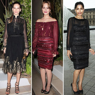 Who Wore It Best? Hilary Swank, Leighton Meester and Freida Pinto In fFrragamo At The Musée du Louvre In Paris