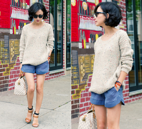 Give knits a breezy counterpoint in a pair of silky shorts.  Photo courtesy of Lookbook.nu