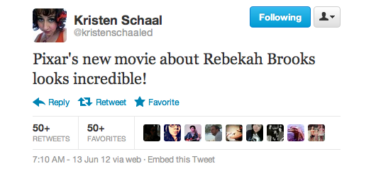 Kristen is getting the princess from Brave mixed up with a scandalous British journalist with red hair.