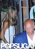 Stacy Keibler followed her boyfriend, George Clooney, out of a restaurant in Lake Como.