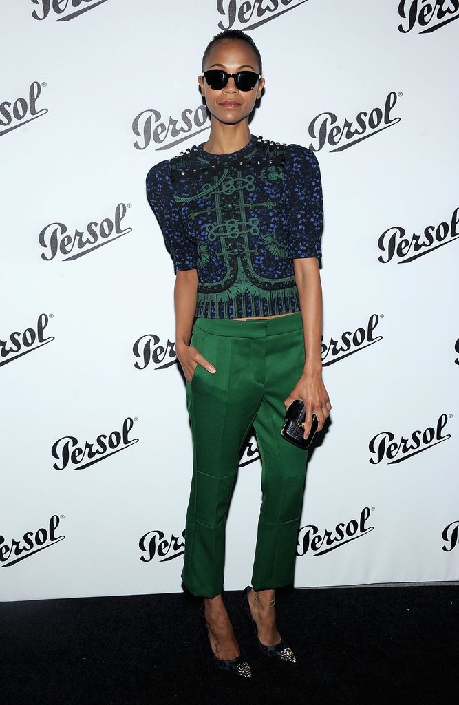 Zoe Saldana showed off a pair of shades at the Persol Magnificent Obsessions event in NYC.