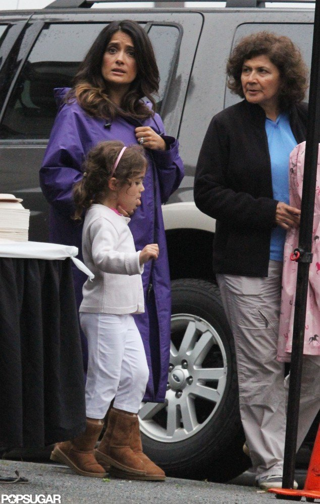 Salma Hayek and daughter Valentina Pinault were on the Boston set of Grown Ups 2.