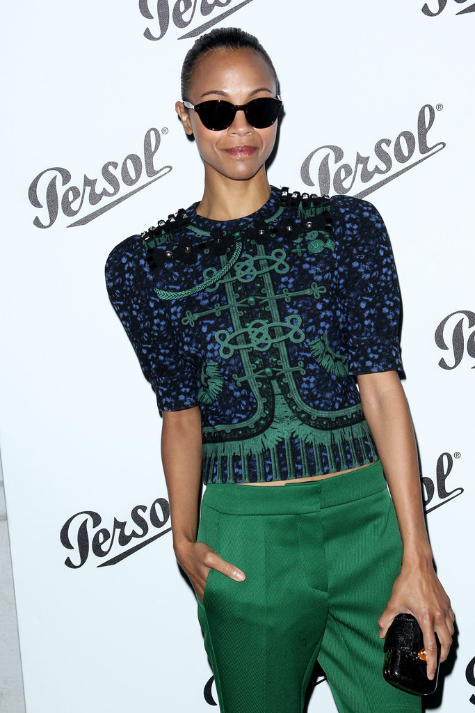 Zoe Saldana posed in her shades at the Persol Magnificent Obsessions event in NYC.