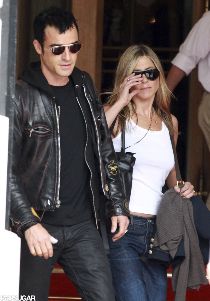 Jennifer Aniston and Justin Theroux left the Ritz Carlton Hotel in Paris.