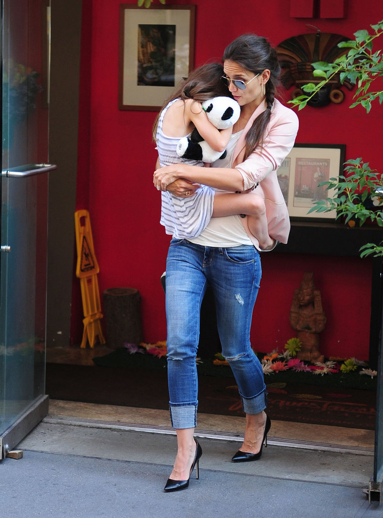 Katie Holmes and Suri Cruise cuddled close.