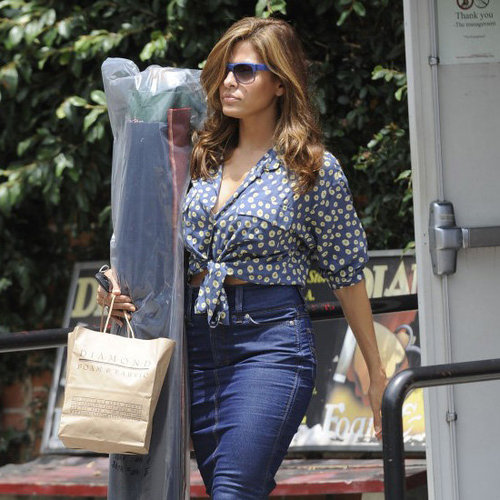 Eva Mendes High-Waisted Denim Skirt