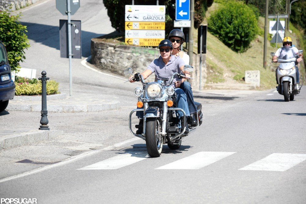 George Clooney Keeps Stacy Keibler Close on a Ride Around Lake Como