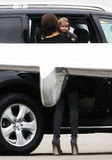 Victoria Beckham gave Harper Beckham a lift out of the car before boarding a jet.