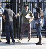 Zac Efron said goodbye to friends after getting out of a meeting in LA.