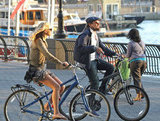 Leonardo DiCaprio and Erin Heatherton biked together.