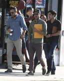Zac Efron walked with friends after leaving a meeting in LA.