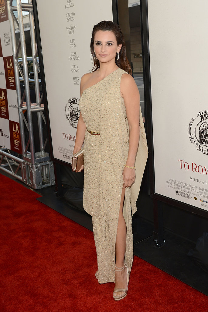 Penelope Cruz wore a Michael Kors gown with a slit showing off her leg at the premiere of To Rome With Love in LA.