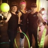 Paul Mercurio, Jesinta Campbell and David Campbell dressed up in lycra. Source: Twitter user JesintaCampbell