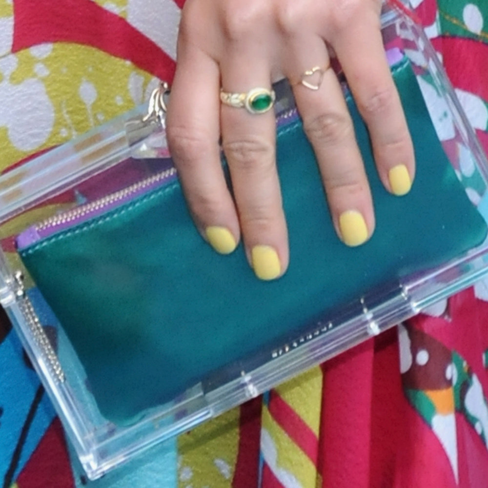 We had to include this cute nail shot! Margherita rocked yellow nails at the Missoni Loves Leaves cocktail party during the Milan Design Week. Amazing!