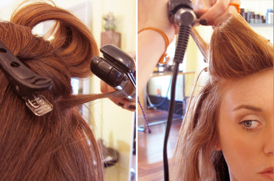 ... hair with volupte spray then grab a half inch section of the hair from