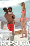 Doutzen Kroes wore a bikini and played with Sunnery James and Phyllon James.