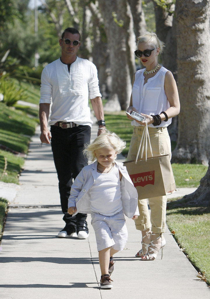 Gwen Stefani and Gavin Rossdale watched son Zuma as he ran ahead on the sidewalk for their Father's Day outing in LA.