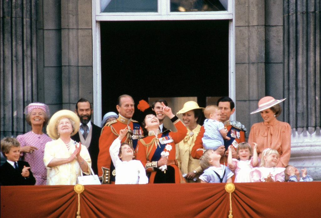 Prince William and Prince Harry watched the ceremonies of the Trooping the Colour at Buckingham Palace in June 1985 with their extended family, as well as mum Princess Diana and dad Prince Charles.