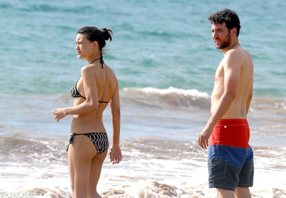 Josh Radnor was shirtless to swim with Julia Jones.