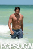 Joe Manganiello was shirtless for a swim.