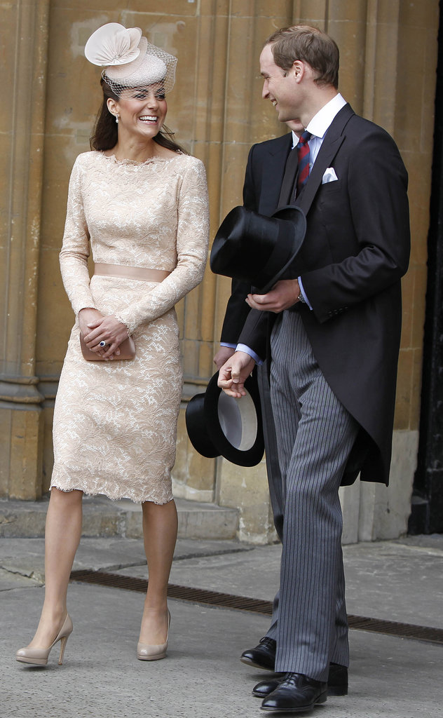 Kate Middleton and Prince William smiled at each other while leaving a luncheon in June, 2012.