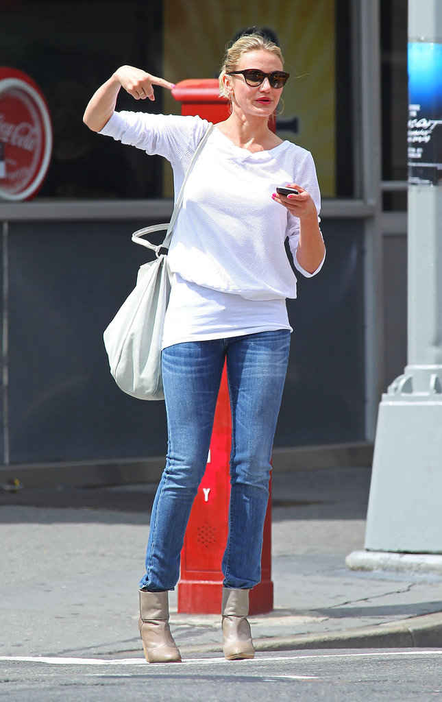 Cameron Diaz wore a white sweater and jeans out and about in NYC.