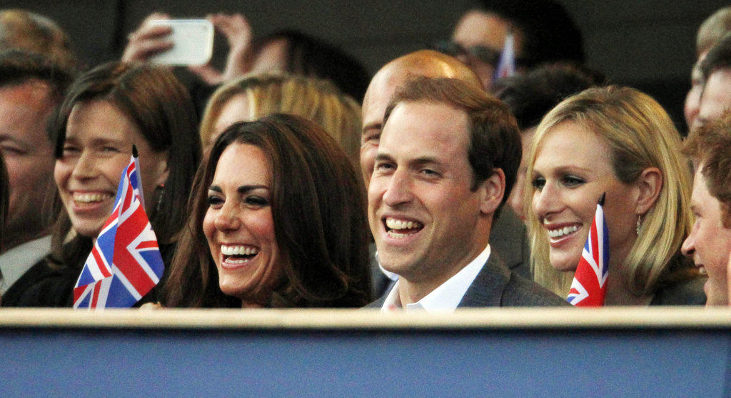 Prince William and Kate Middleton laughed and waved British flags  during the Diamond Jubilee concert in June 2012.