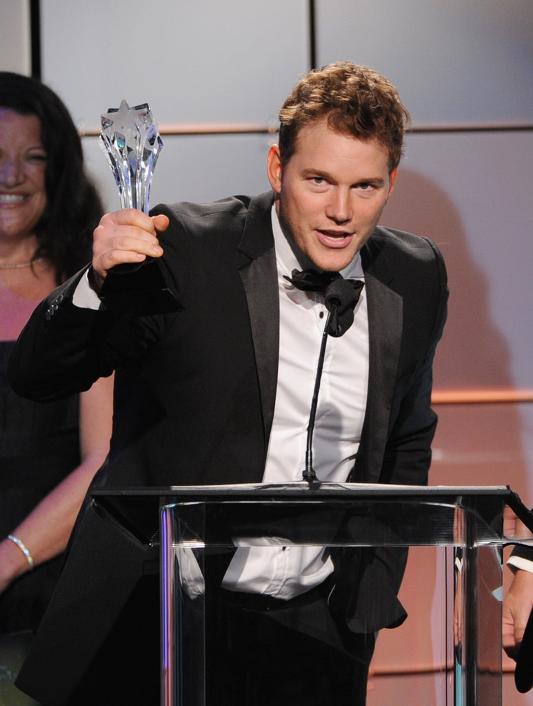 Chris Pratt proudly raised his award at the Critics' Choice Television Awards in LA.