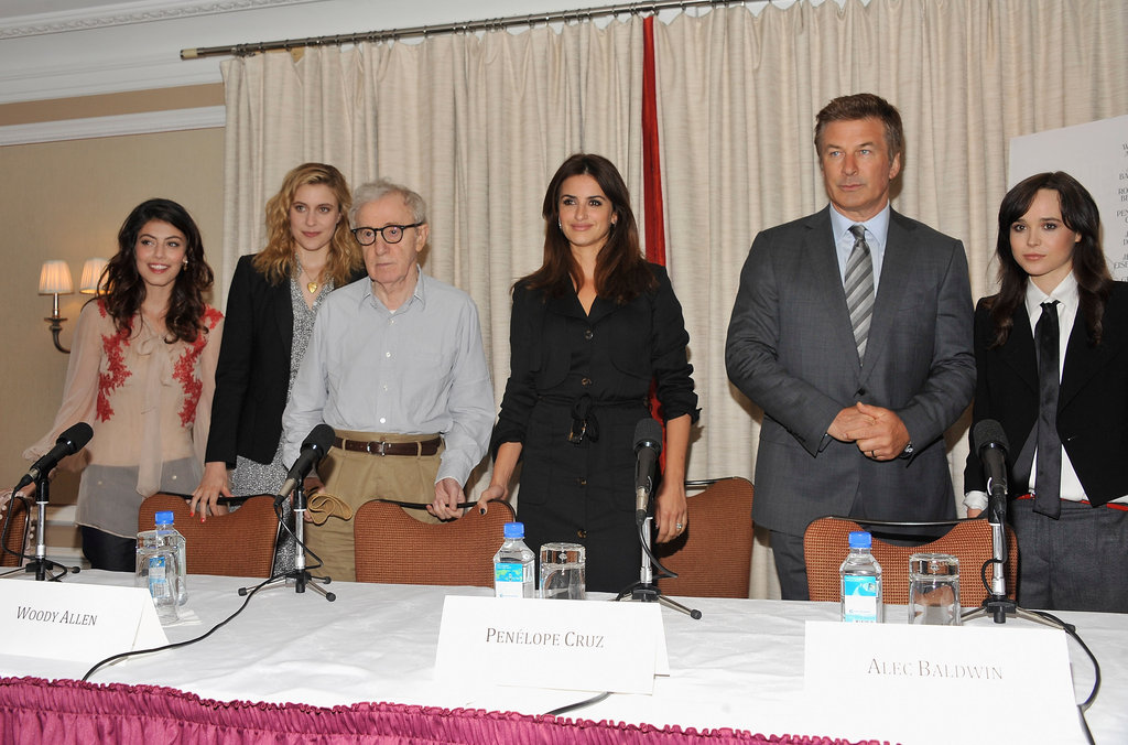 Alessandra Mastronardi, Greta Gerwig, Woody Allen, Penélope Cruz, Alec Baldwin, and Ellen Page posed at a To Rome With Love press event in NYC.
