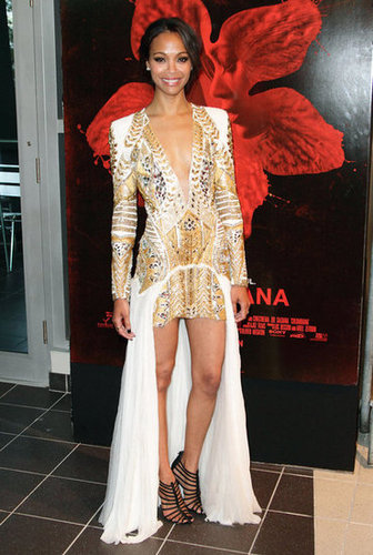 Va-va-voom! Zoe nailed it at the Miami premiere of Colombiana in this edgy Balmain look and sexy Giuseppe Zanotti heels.