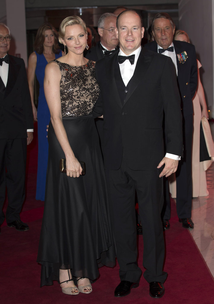 Charlene attended a gala dinner in Monaco in May 2012 in a glamorous black-lace-topped feminine gown.