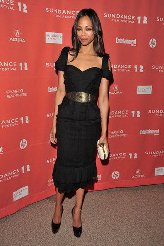 She chose a cool black shoulder-cutout Alexander McQueen dress for The Words' premiere at Sundance earlier this year.