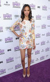 Her rocker-chick floral Balmain minidress and Brian Atwood nude pumps made an edgy statement at the 2012 Independent Spirit Awards.