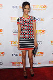 We love this playful printed Rena Lange minidress she wore to the 2011 Trevor Projects event. To complete the look, she added a Lanvin clutch and Louboutin heels.