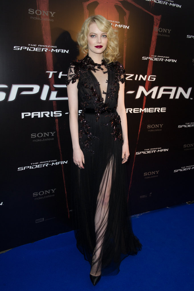 Emma Stone stunned in this Fall '12 Gucci number at the Paris premiere of The Amazing Spider-Man, complementing the siren look with 1920s-inspired waves and a deep crimson lip.