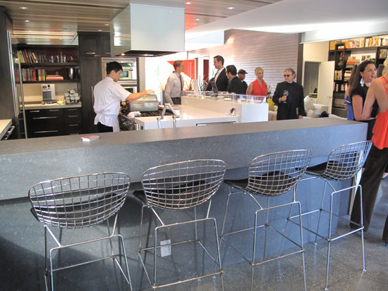 Bertoia wire barstools surround the kitchen bar. The kitchen uses a variety of eco-friendly Kohler and Silestone products.