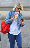 Cameron Diaz went for a walk in NYC with iced tea.