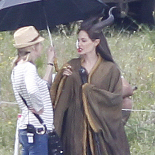 Angelina Jolie Pictures on Maleficent Set