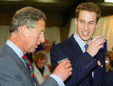 Prince William and his father, Prince Charles, enjoyed a beer together during a visit in Wales in June 2003.