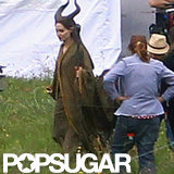 Angelina Jolie on the Maleficent set in costume.