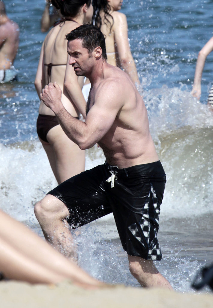 Hugh Jackman went shirtless in Spain this June.